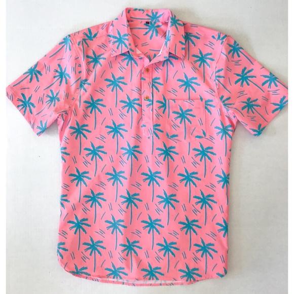 c4322d04058 Pidoza Short Sleeve Hawaiian Shirt Pink Source · Shirts Neon Pink Palm Tree Hawaiian  Shirt Poshmark